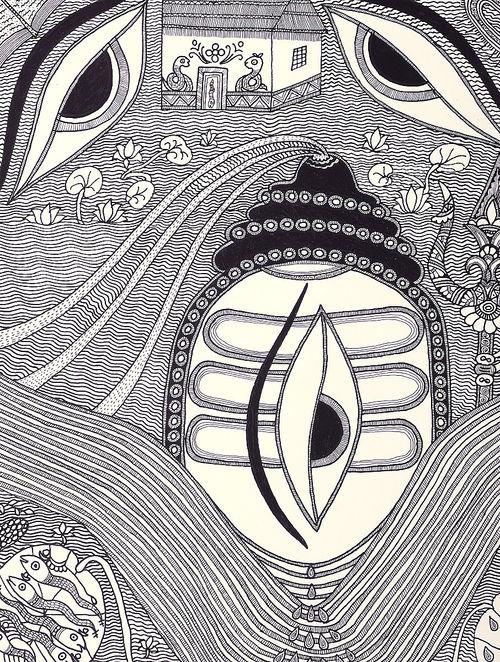 madhubani paintings in black and white  Buy Ink on Paper Lord Shiva Madhubani Painting Online at Jaypore.com