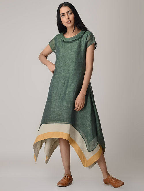 Excellent Buy Green Linen Dress with Asymmetrical Hem Online at Jaypore.com LN78