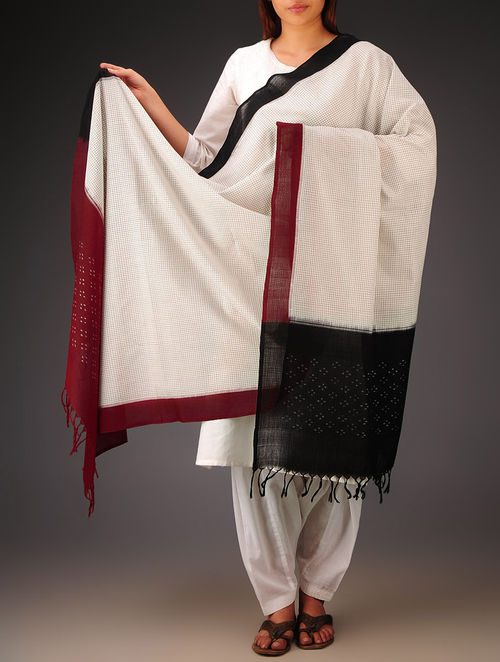 White-Black-Maroon Telia Design Double Ikat Cotton Dupatta