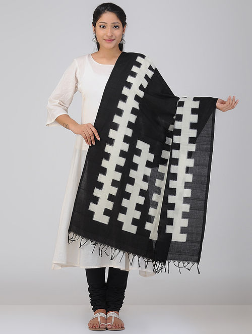 Black-Ivory Double Ikat Cotton Dupatta