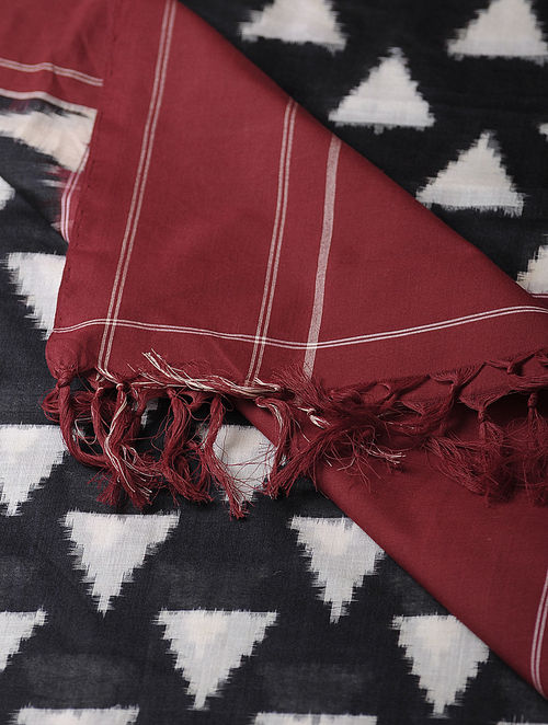 Black-Maroon Double Ikat Cotton Dupatta