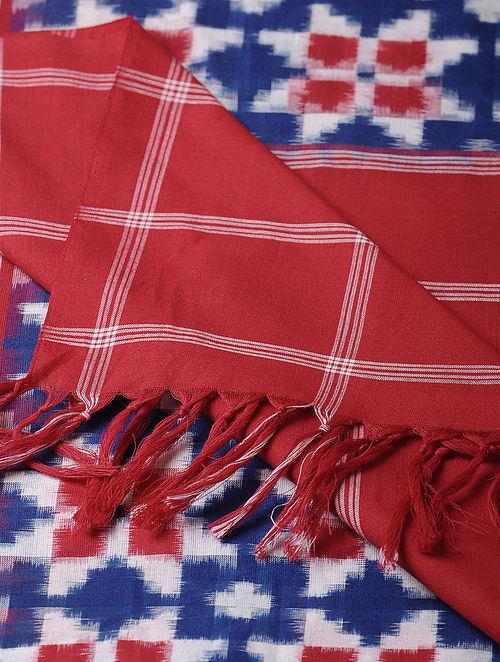 Blue-Red Double Ikat Cotton Dupatta