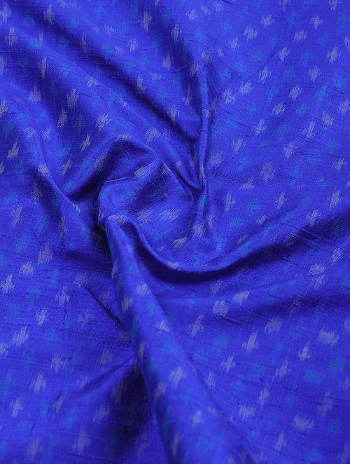 Buy Blue Ivory Pochampally Ikat Silk Fabric Online At