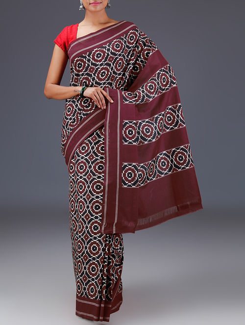 Buy Black Maroon Double Ikat Cotton Telia Rumal Saree