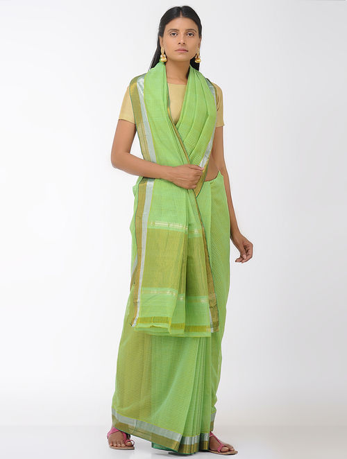 Green Missing Checks Mangalgiri Cotton Saree with Zari Border