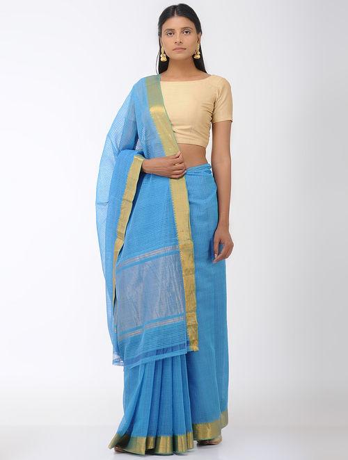 Blue Missing Checks Mangalgiri Cotton Saree with Zari Border