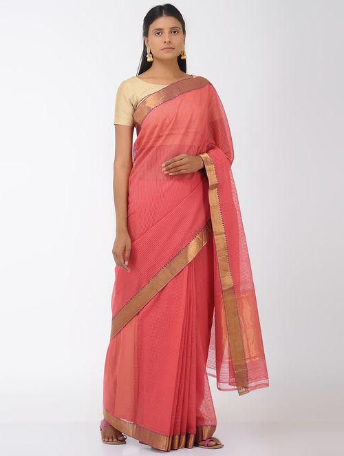 Pink Missing Checks Mangalgiri Cotton Saree with Zari Border