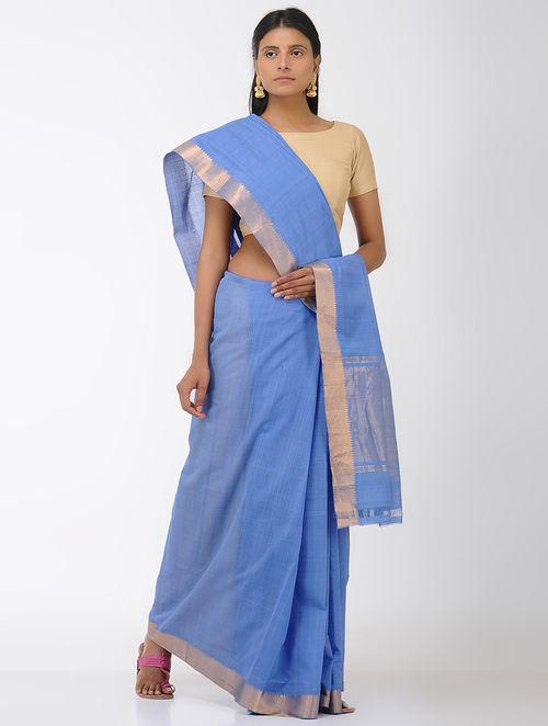 Blue Mangalgiri Cotton Saree with Zari Border
