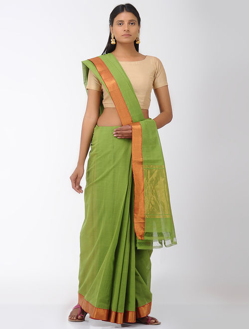 Green Missing Stripes Mangalgiri Cotton Saree with Zari Border