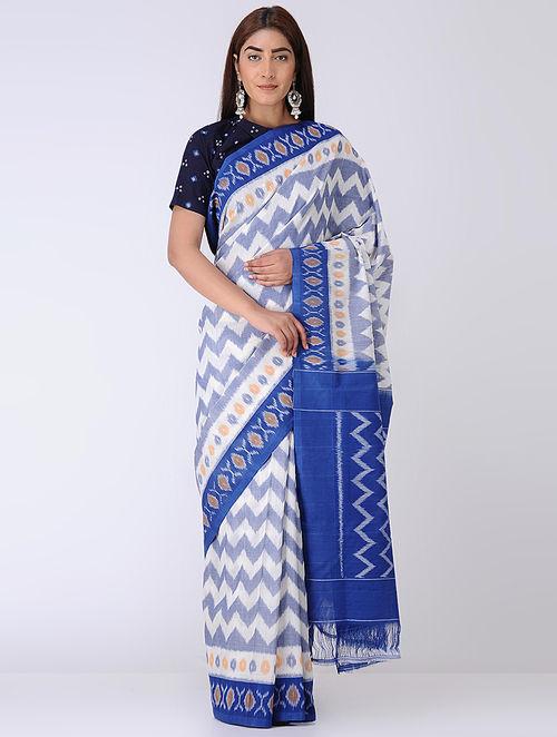 Ivory-Blue Ikat Cotton Saree