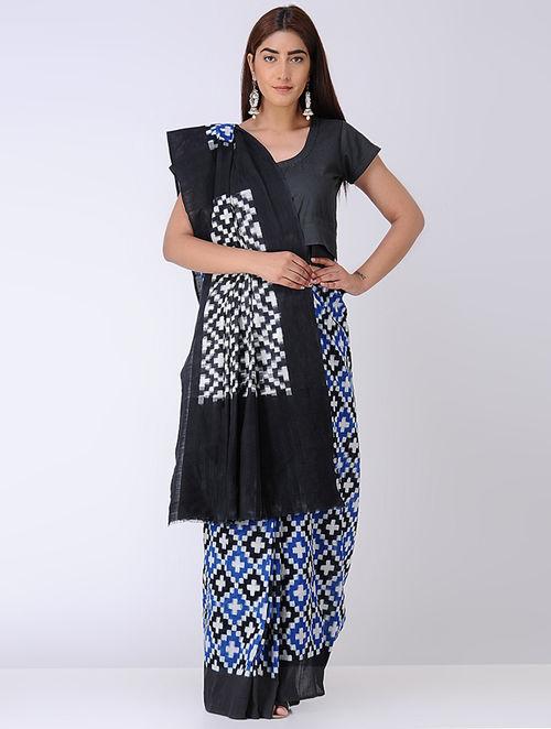 Blue-Black Double Ikat Cotton Saree