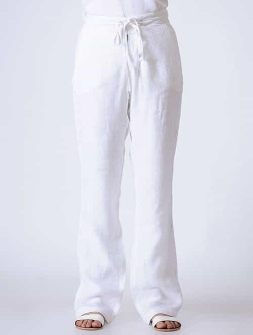 Buy Ivory Chikankari Hand-Embroidered Tie-Up Waist Linen Pants-XL Online at  Jaypore com