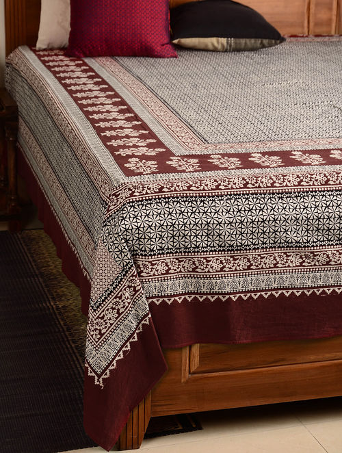 Floral Cotton Double Bed Cover 108in x 89in