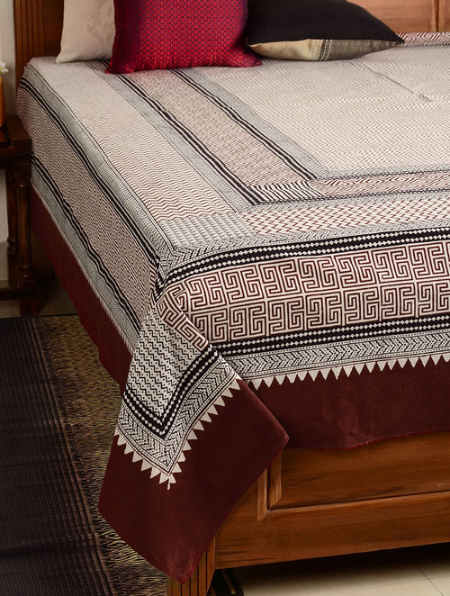 Chevron Cotton Double Bed Cover 106in x 90in