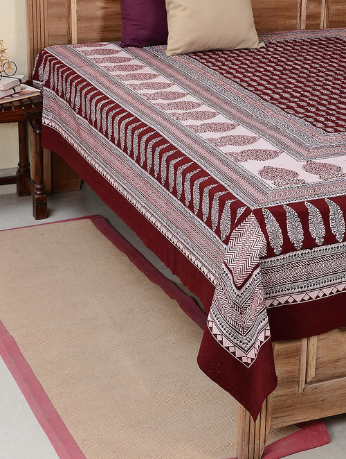 Maroon Bagh Printed Cotton Double Bedsheet