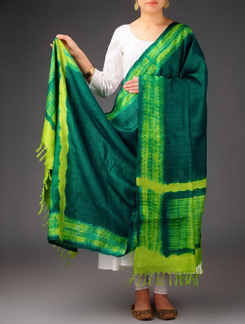 e8968b4fac886b Green-Lime Tussar Silk Shibori Dyed Dupatta The Jaypore Treasure Trove