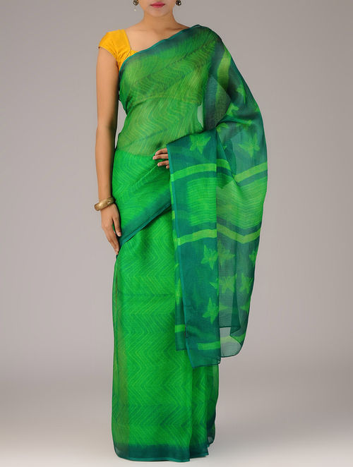 498628e1c2bd5b Buy Green-Lime Silk Kota Doria Zari Border Shibori Dyed Saree ...