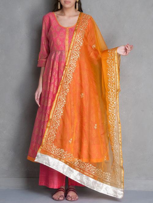 Buy Orange Golden Zari Embroidered Amp Gota Embellished