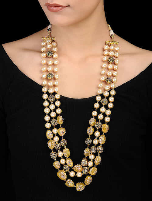 01c2ef05cc634 Buy Yellow-White Gold Tone Marcasite Pearl Beaded Necklace Online at  Jaypore.com