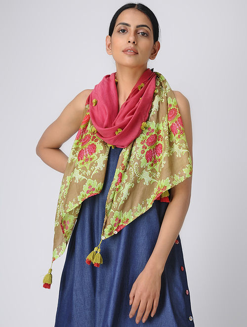 35240aa528221 Buy Red-Green Printed Silk Scarf Online at Jaypore.com
