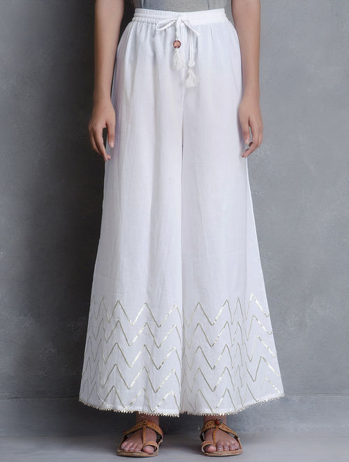 Buy White Gotta Embellished Cotton Palazzo Online At