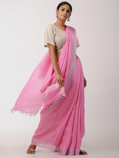 Buy Pink Linen Saree With Zari Border Online At Jaypore Com