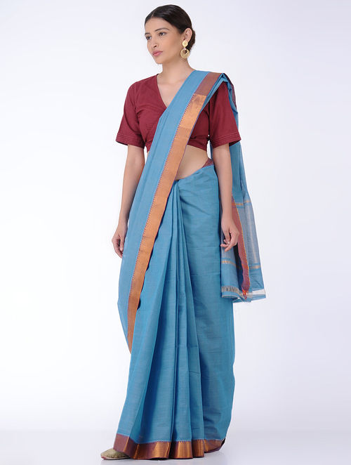 Blue Cotton Saree with Zari