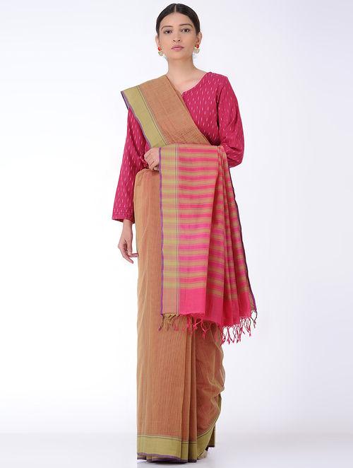 Brown-Pink Missing Checks Cotton Saree