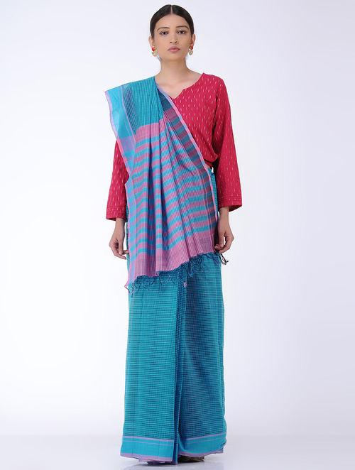 Blue-Pink Missing Checks Cotton Saree