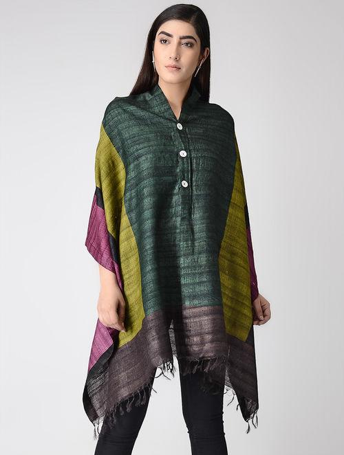 c89220ddbadc0 Green-Purple Block-printed Eri Silk Poncho Tops