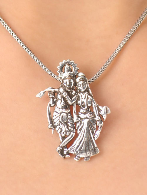 Buy radha and krishna silver pendant with silver chain online at radha and krishna silver pendant with silver chain aloadofball Gallery