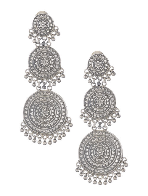 earrings floral online com buy classic at silver motif jaypore with