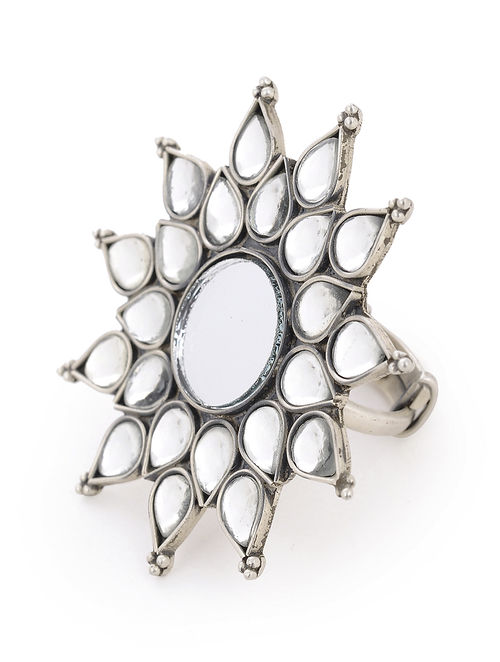 Buy Classic Floral Adjustable Silver Ring With Mirror Online At Jaypore