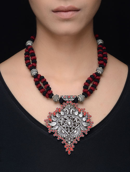 yarn red metal cotton jaypore thread alloy buy silver online com necklace at