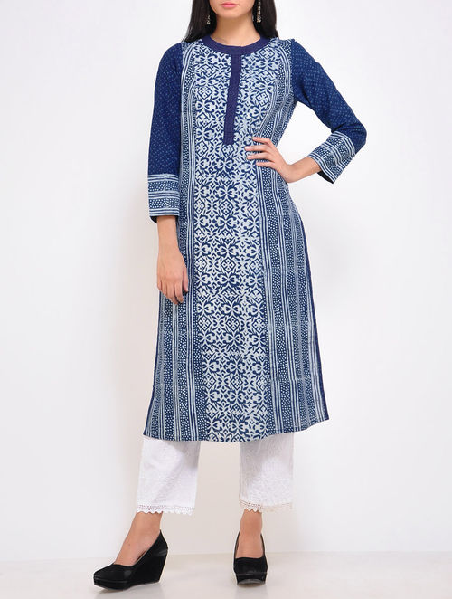 Buy Indigo Parallel Cotton Kurta Online At Jaypore Com