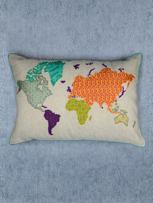 Buy world map printed and applique cushion cover 20in x 14in by nur world map printed and applique cushion cover 20in x 14in by nur gumiabroncs Image collections