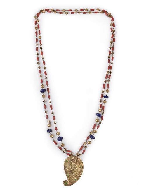 Buy Lapiz Lazuli-Coral Silver Necklace Online at Jaypore.com