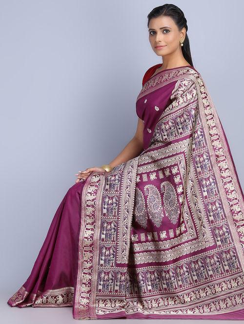 Buy Dark Fuschia Silk Threadwork Handwoven Baluchari Saree