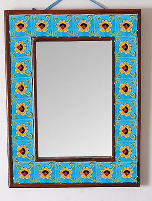 Handmade Blue Pottery Wall Hanging Mirror With Wood Frame