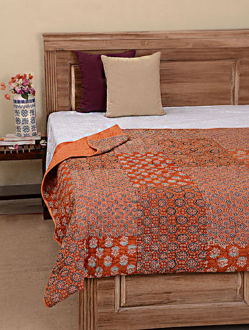 orange plain king throw embossed quilted soft colour bedspread itm double luxurious quilt