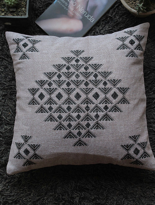 Buy Grey Black Toda Embroidered Linen Cushion Cover Online At