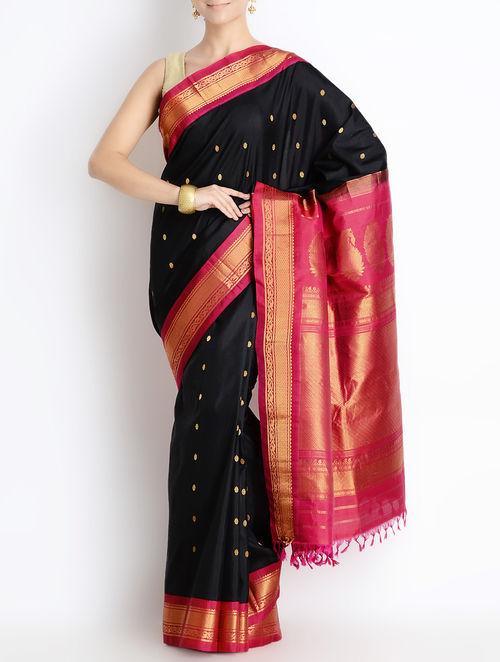 Buy Black Red Silk Zari Border Gadwal Saree Online At