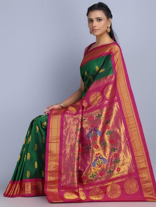 Buy Green Fuschia Zari Silk Paithani Saree By Omnah Online
