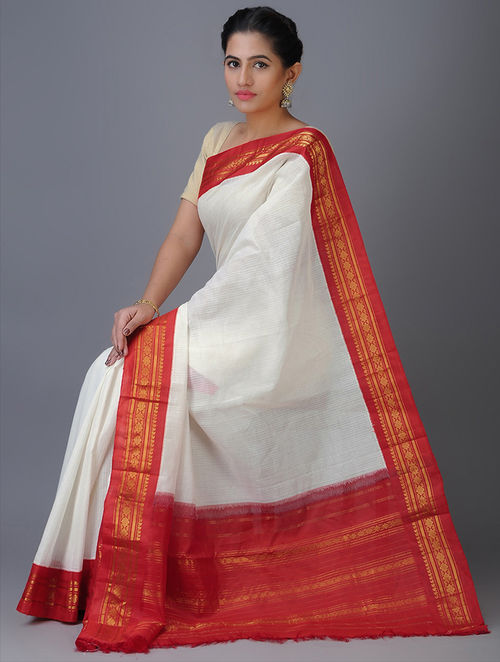 Buy White Red Cotton Gadwal Saree With Zari Border Online