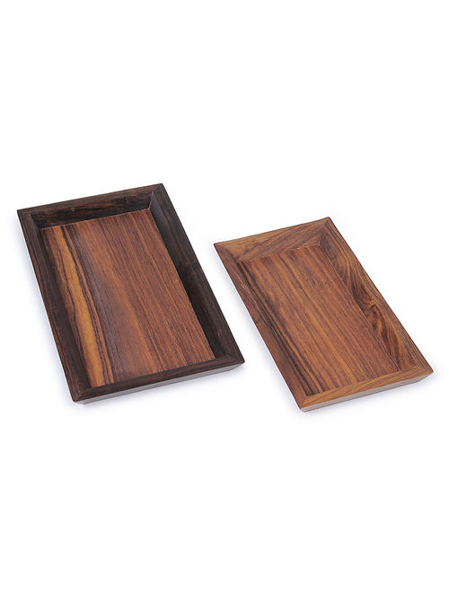 Mehendi Butta Brown Beech Wood Serving Tray (Set Of 2) (L:9.5