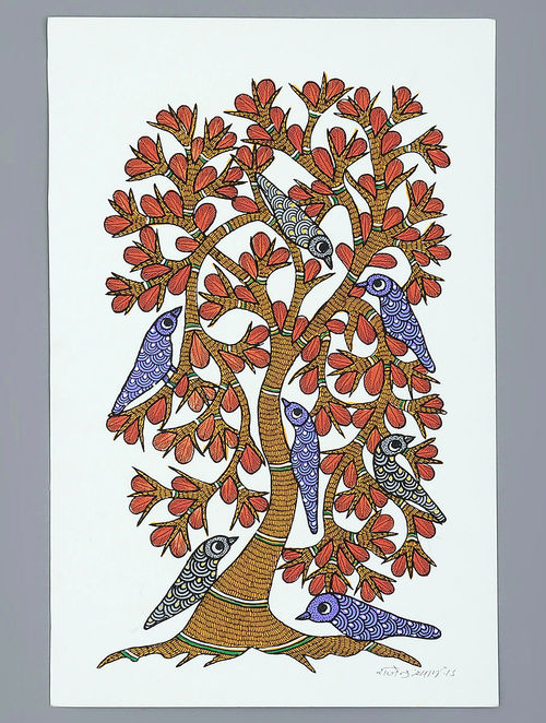 Buy Multi Color Paper The Tree Of Life Gond Art Painting
