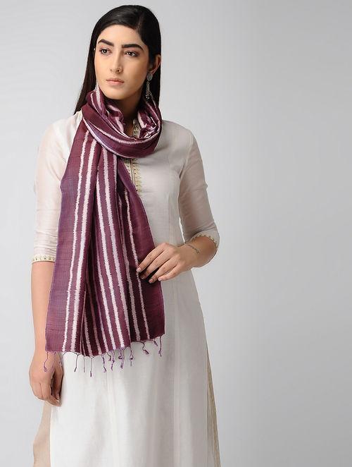 3265715096 Buy Purple-Ivory Ikat Silk Stole Online at Jaypore.com