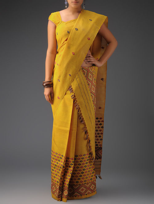 Buy Turmeric Yellow Mekhla Chador Set Of 3 Online At