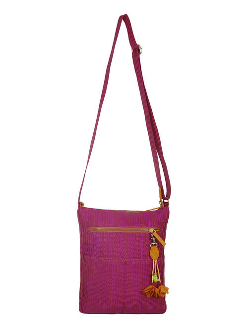 Buy Dark Fuschia Quilted Silk Sling Bag Online at Jaypore.com 26fb511286bcc