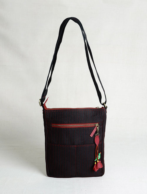 1353c6839e40 Buy Black-Red Quilted Silk Nomad Bag with Handcrafted Tassel ...